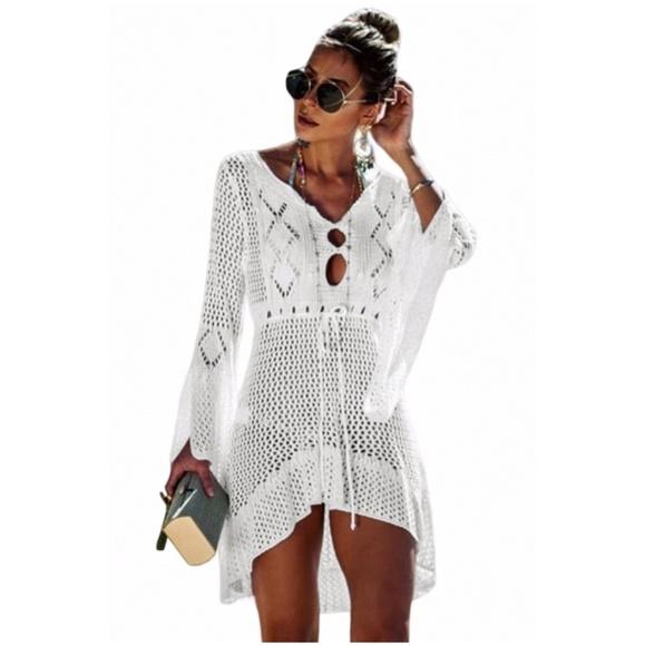 ec25fc0a591a Swim | Back In White Crochet Beach Cover Up Dress | Poshmark